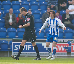 COLCHESTER, ENGLAND - Saturday, April 24, 2010: Colchester United's David Prutton vents out his anger after being wrongly sent off after a player confusion by Referee Mr. P.Crossley for a double yellow card after kicking the ball away in injury time during the Football League One match at the Western Community Stadium. (Photo by Gareth Davies/Propaganda)