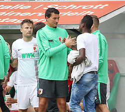 01.08.2015, WWK Arena, Augsburg, GER, Testspiel, FC Augsburg vs FC Toulouse, im Bild Abdul Rahman Baba (FC Augsburg #17, re. in Zivil) verabschiedet sich von seinen Mannschaftskameraden nach dem Spiel, Zdenko Miletic (Torwarttrainer FC Augsburg) // during the International Friendly Football Match between FC Augsburg and FC Toulouse at the WWK Arena in Augsburg, Germany on 2015/08/01. EXPA Pictures &copy; 2015, PhotoCredit: EXPA/ Eibner-Pressefoto/ Krieger<br /> <br /> *****ATTENTION - OUT of GER*****