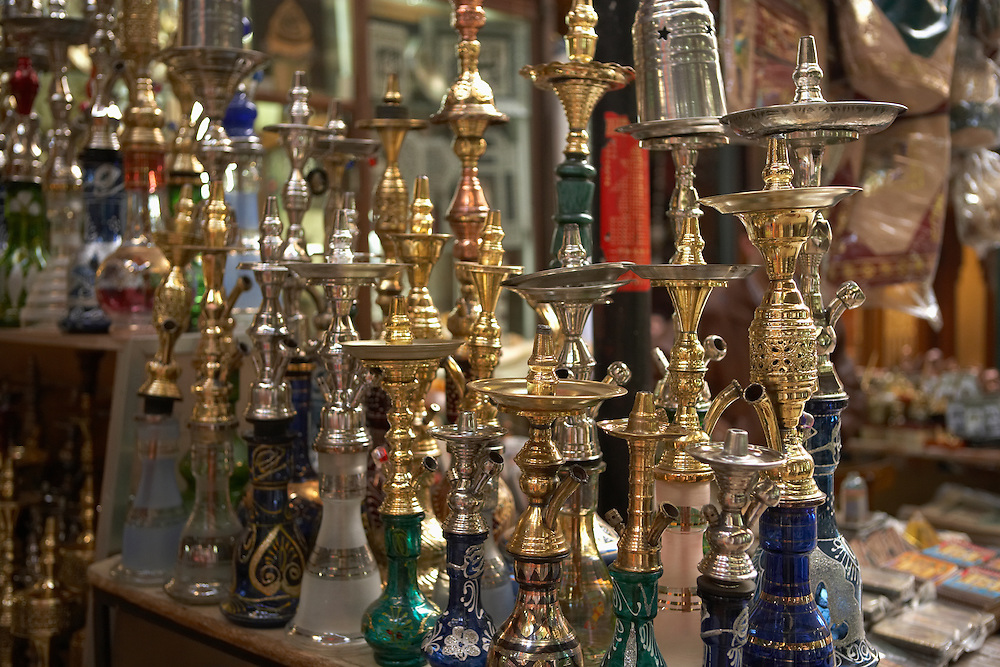 Hookahs for sale at the Khan-alKhalili Bazaar in Cairo, Egypt