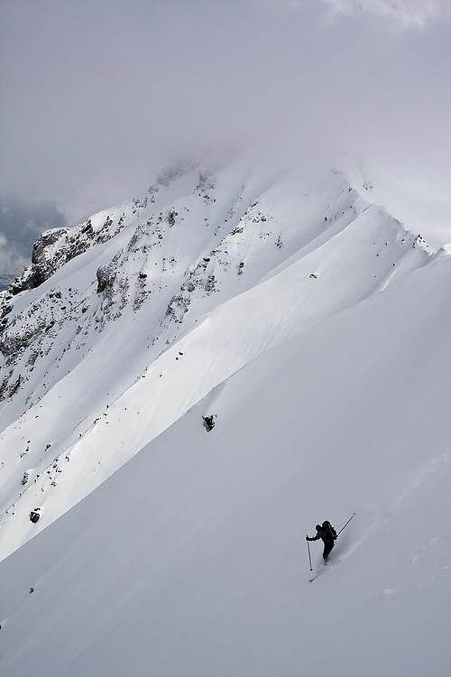 Skier Clément Pernet drops into the backside of Little Diamond Head in Garibaldi Provincial Park, British Columbia, Canada.