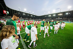 Rok Kronaveter of NK Olimpija and other players coming to the pitch during football match between NK Aluminij and NK Olimpija Ljubljana in the Final of Slovenian Football Cup 2017/18, on May 30, 2018 in SRC Stozice, Ljubljana, Slovenia. Photo by Vid Ponikvar / Sportida