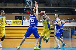 Dragisa Drobnjak & Bolcina Tomaz of KK Tajfun Sentjur and Miljkovic Milos of KK Sencur GGD during basketball match between KK Sencur  GGD and KK Tajfun Sentjur for Spar cup 2016, on 16th of February , 2016 in Sencur, Sencur Sports hall, Slovenia. Photo by Grega Valancic / Sportida.com