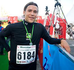 Football player Ales Kokot at the finish line of the 14th Marathon of Ljubljana, on October 25, 2009, in Ljubljana, Slovenia.  (Photo by Vid Ponikvar / Sportida)