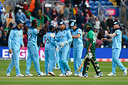 England win - The England team celebrate beating Bangladesh by 106 runs during the ICC Cricket World Cup 2019 match between England and Bangladesh the Cardiff Wales Stadium at Sophia Gardens, Cardiff, Wales on 8 June 2019.