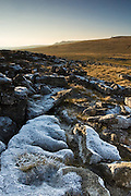 Winter frost on Great Asby Scar limestone pavement, Cumbria,UK