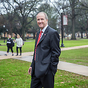 "TUSCALOOSA,AL-JAN15:  Stuart R. Bell, president of the University of Alabama, walks on the quad, January 15, 2016, in Tuscaloosa, AL. The University of Alabama, founded in 1831, once served mainly Alabama students as the state's flagship institution. Now more than 60 percent of entering freshmen come from out of state. The university has had one of the largest shifts toward out-of-state enrollment in the country in the past decade. Bell is upbeat about the growth in out-of-state enrollment at Alabama. ""When students vote with their feet to be at your institution, that's a really great outcome."" (Photo by Evelyn Hockstein/For The Washington Post)"