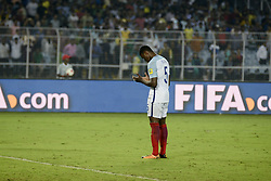 October 25, 2017 - Kolkata, West Bengal, India - England Marc Guehi (jersey 5) prays after winning the Semi Final match against Brazil in Kolkata.Players of England and Brazil in action during the FIFA U 17 World Cup India 2017 Semi Final match on October 25, 2017 in Kolkata. (Credit Image: © Saikat Paul/Pacific Press via ZUMA Wire)