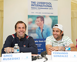 LIVERPOOL, ENGLAND - Thursday, June 16, 2011: Greg Rusedski (GBR) and Fernando Gonzalez (CHI) at a press conference on day one of the Liverpool International Tennis Tournament at Calderstones Park. (Pic by David Rawcliffe/Propaganda)