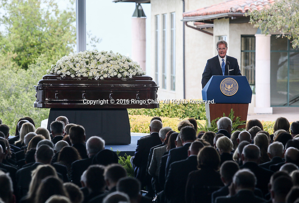 Barton Hegeler speaks during a funeral service for the former first lady Nancy Reagan at the Ronald Reagan Presidential Library and Museum in Simi Valley, California on March 11, 2016. Reagan died of congestive heart failure in her sleep at her Bel Air home Sunday at age 94. A bout 1,000 guests from the world of politics attended the final farewell to Nancy Reagan as the former first lady is eulogized and laid to rest next to her husband at his presidential library.<br />    (Photo by Ringo Chiu/PHOTOFORMULA.com)<br /> <br /> Usage Notes: This content is intended for editorial use only. For other uses, additional clearances may be required.