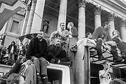 Protestors on van, Reclaim the Streets, Trafalgar Square, London, May 1997