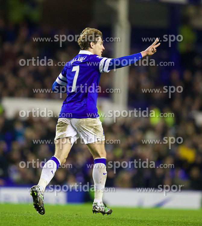 04.01.2014, Goodison Park, Liverpool, ENG, FA Cup, FC Everton vs Queens Park Rangers, 3. Runde, im Bild Everton's Nikica Jelavic celebrates scoring the third goal against Queens Park Rangers // during the English FA Cup 3rd round match between Everton FC and Queens Park Rangers at the Goodison Park in Liverpool, Great Britain on 2014/01/04. EXPA Pictures &copy; 2014, PhotoCredit: EXPA/ Propagandaphoto/ David Rawcliffe<br /> <br /> *****ATTENTION - OUT of ENG, GBR*****