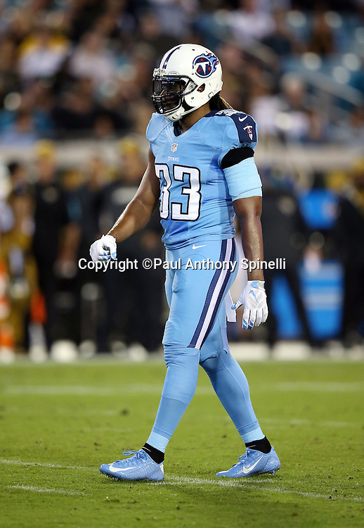 Tennessee Titans free safety Michael Griffin (33) looks on during the 2015 week 11 regular season NFL football game against the Jacksonville Jaguars on Thursday, Nov. 19, 2015 in Jacksonville, Fla. The Jaguars won the game 19-13. (©Paul Anthony Spinelli)