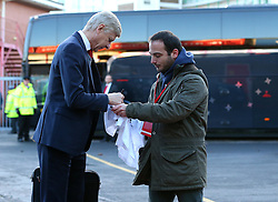 Arsenal manager Arsene Wenger arrives at The City Ground and signs an autograph ahead of the FA Cup Third Round tie with Nottingham Forest - Mandatory by-line: Robbie Stephenson/JMP - 07/01/2018 - FOOTBALL - The City Ground - Nottingham, England - Nottingham Forest v Arsenal - Emirates FA Cup third round proper