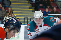 KELOWNA, CANADA - DECEMBER 27: Cody Fowlie #18 of the Kelowna Rockets faces off against the Kamloops Blazers at the Kelowna Rockets on December 27, 2012 at Prospera Place in Kelowna, British Columbia, Canada (Photo by Marissa Baecker/Shoot the Breeze) *** Local Caption ***