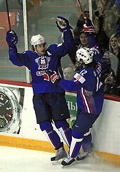 Anze Kopitar and David Rodman of Slovenia celebrates Kopitar`s goal at ice-hockey game Slovenia vs Slovakia at second game in  Relegation  Round (group G) of IIHF WC 2008 in Halifax, on May 10, 2008 in Metro Center, Halifax, Nova Scotia, Canada. Slovakia won after penalty shots 4:3.  (Photo by Vid Ponikvar / Sportal Images)