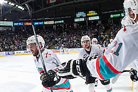 KELOWNA, CANADA - APRIL 23: Rourke Chartier #14 and Tomas Soustal #15 of Kelowna Rockets celebrate a second period goal against the Seattle Thunderbirds on April 23, 2016 at Prospera Place in Kelowna, British Columbia, Canada.  (Photo by Marissa Baecker/Shoot the Breeze)  *** Local Caption *** Rourke Chartier; Tomas Soustal;