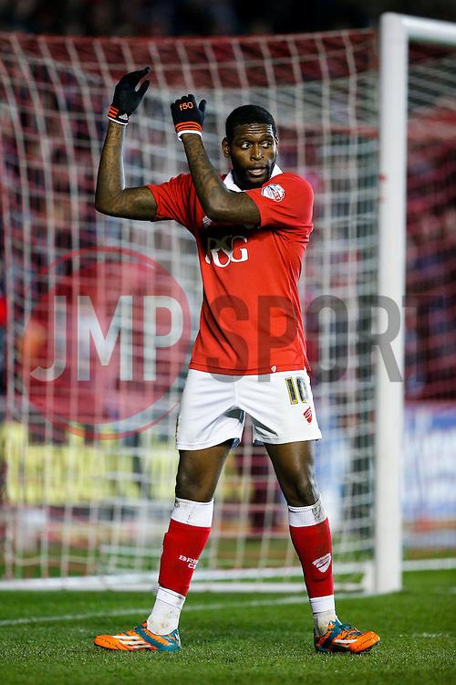 Jay Emmanuel-Thomas of Bristol City celebrates scoring a goal to make it 3-0 - Photo mandatory by-line: Rogan Thomson/JMP - 07966 386802 - 17/03/2015 - SPORT - FOOTBALL - Bristol, England - Ashton Gate Stadium - Bristol City v Crewe Alexandra - Sky Bet League 1.