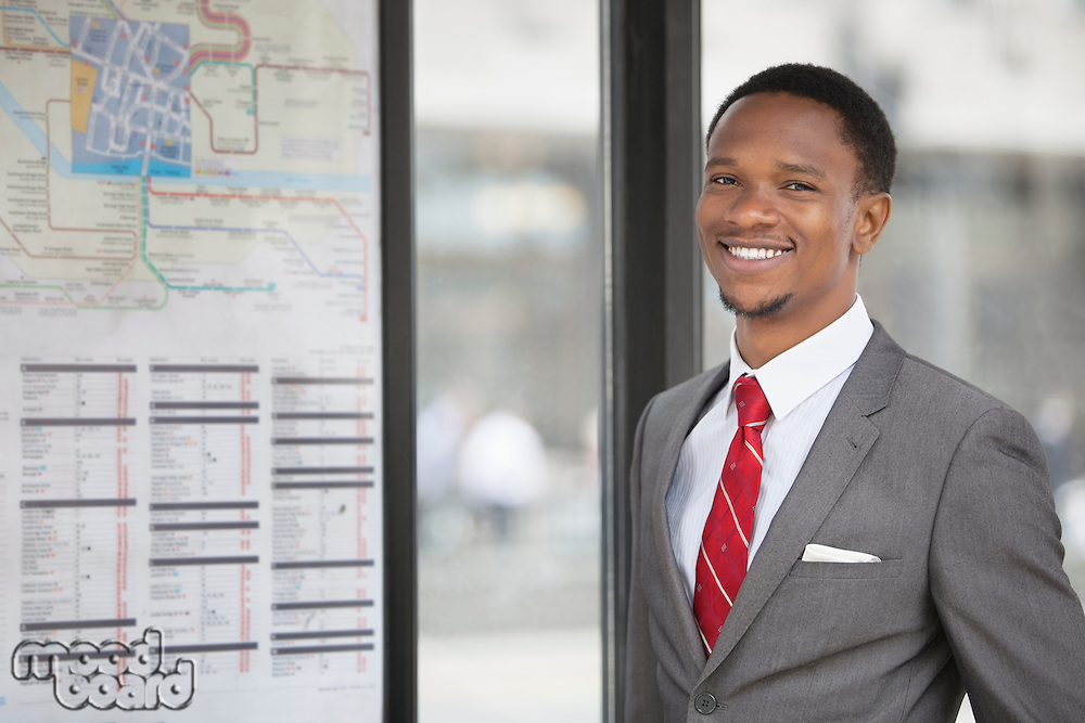 Portrait of an African American young businessman smiling