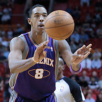 17 November 2010: Phoenix Suns' center #8 Channing Frye passes the ball during the Miami Heat 123-96 victory over the Phoenix Suns at the AmericanAirlines Arena, Miami, Florida, USA.