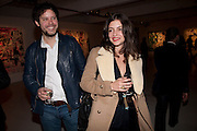 NICHOLAS POL; ELEANORE MICHELIN, Private view of the exhibition ' Mother of Pouacrus' by Nicholas Pol. Presented by Vladimir Restoin Roitfeld. The Old Dairy, Wakefield St.  London. 14 October 2010. <br /> <br /> -DO NOT ARCHIVE-© Copyright Photograph by Dafydd Jones. 248 Clapham Rd. London SW9 0PZ. Tel 0207 820 0771. www.dafjones.com.