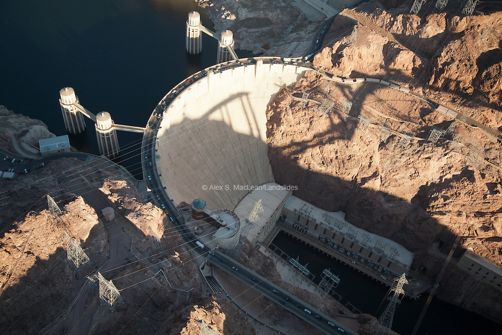 Hoover Dam, bypass towers, power house below with electric line exiting