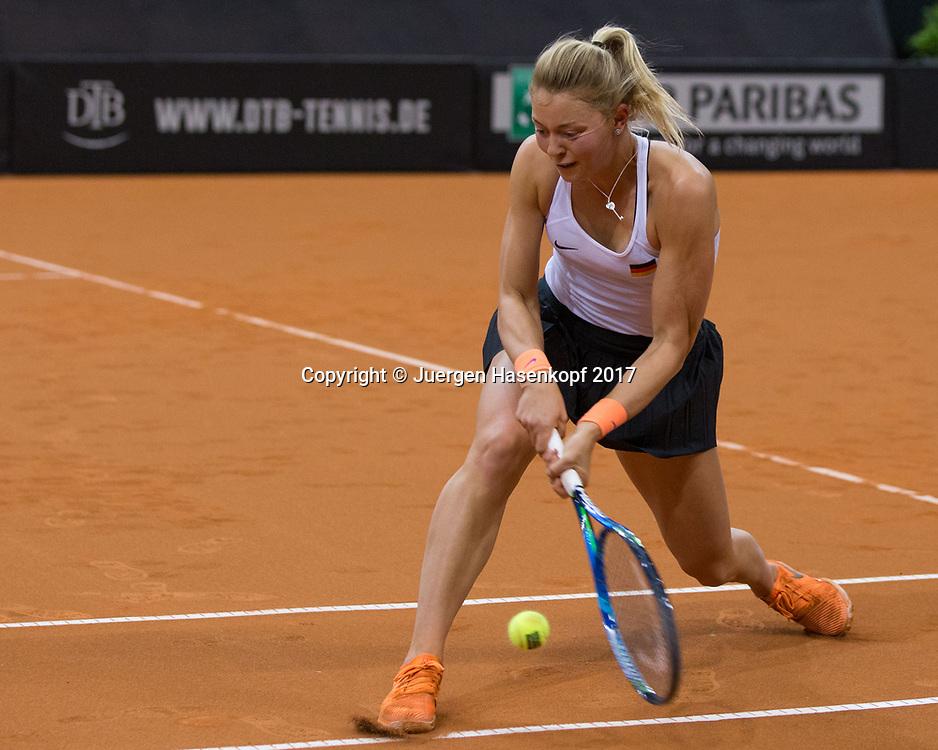 GER-UKR, Deutschland - Ukraine, <br /> Porsche Arena, Stuttgart, internationales ITF  Damen Tennis Turnier, Mannschafts Wettbewerb,<br /> Team German Doppel: CARINA WITTHOEFT