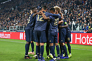 CORRECTION - Juventus Defender Alex Sandro scores own goal (not in picture) and Manchester United Midfielder Paul Pogba celebrates 1-2 during the Champions League Group H match between Juventus FC and Manchester United at the Allianz Stadium, Turin, Italy on 7 November 2018.