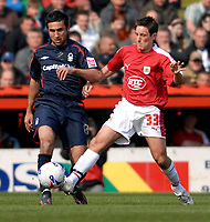 Photo: Leigh Quinnell.<br /> Bristol City v Nottingham Forest. Coca Cola League 1. 31/03/2007. Bristol Citys Lee Johnson challenges Forests  Jack Lester.