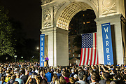 New York, NY – 16 September 2019. Massachusetts Senator and Democratic Presidential candidate Elizabeth Warren drew a large and enthusiastic crowd at a speech for her increasingly popular 2020 presidential campaign in New York's Washington Square. Warren got trey support of the Working Families Party earlier in the day. Her speech referenced the Triangle Shirtwaist Factory fire, which took place just a short distance from tWashington Square, and was directed at her support for working people.
