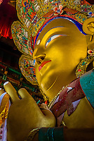 15 meter (49 ft) high statue of Maitreya Buddha - the largest such statue in Ladakh covering two storys of the building, Thiksey Monastery, Thiksey, near Leh, Ladakh; Jammu & Kashmir State, India.
