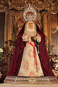 Dolorosa or weeping Virgin Mary statue from the Baroque altarpiece by  Alfonso Rodenas Garcia, 1947-65, in the St Ildesonso Chapel or <br /> Capilla de San Ildesonso, built 1639-46 by order of Hernando de Ballesteros and his wife Casilda de Villasante, in the Cathedral of the Incarnation of Almeria, or Catedral de la Encarnacion de Almeria, built 1524-62 in late Gothic and Renaissance styles after the original cathedral was destroyed in an earthquake, Almeria, Andalusia, Southern Spain. Picture by Manuel Cohen