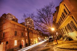 A street of rowhouses in the Society Hill area of Philadelphia, PA.