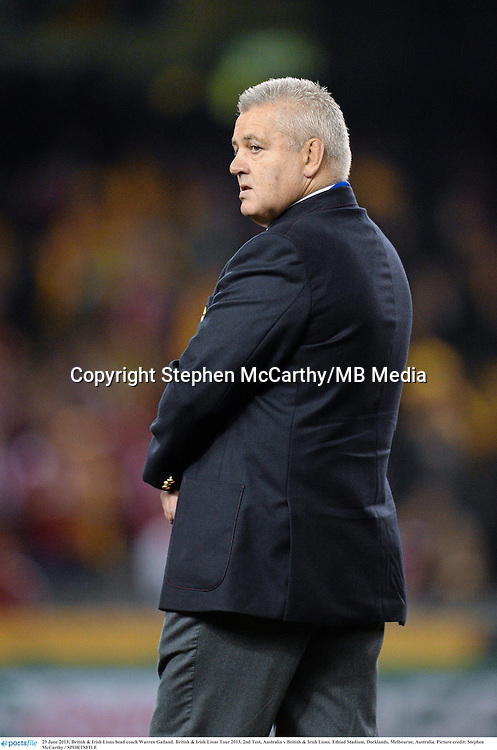 29 June 2013; British & Irish Lions head coach Warren Gatland. British & Irish Lions Tour 2013, 2nd Test, Australia v British & Irish Lions. Ethiad Stadium, Docklands, Melbourne, Australia. Picture credit: Stephen McCarthy / SPORTSFILE