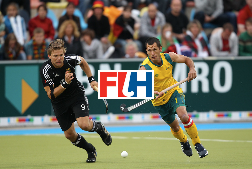 Mens Champions Trophy, Monchengladbach 2010<br /> Day 4, Australia v Germany 5/8/10<br /> Moritz Fuerste and Jamie Dwyer.<br /> Credit: Grant Treeby.<br /> Editorial use only(No Archiving)