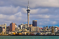 A view of the Auckland skyline featuring the 328 meter high Sky Tower (the tallest free-standing structure in the Southern Hemisphere from Auckland Harbor), Auckland, New Zealand