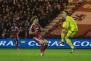 Nottingham Forest goalkeeper Dorus de Vries (1) claims the ball in the box from Middlesbrough FC midfielder Adam Forshaw (34)  during the Sky Bet Championship match between Middlesbrough and Nottingham Forest at the Riverside Stadium, Middlesbrough, England on 23 January 2016. Photo by George Ledger.