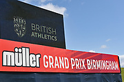 General view of the Scoreboard and Advertising during the Birmingham Grand Prix, Sunday, Aug 18, 2019, in Birmingham, United Kingdom. (Steve Flynn/Image of Sport via AP)