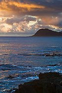 Sunset over the southwestern shore near Paradise Cove, Kapolei, Oahu, Hawaii