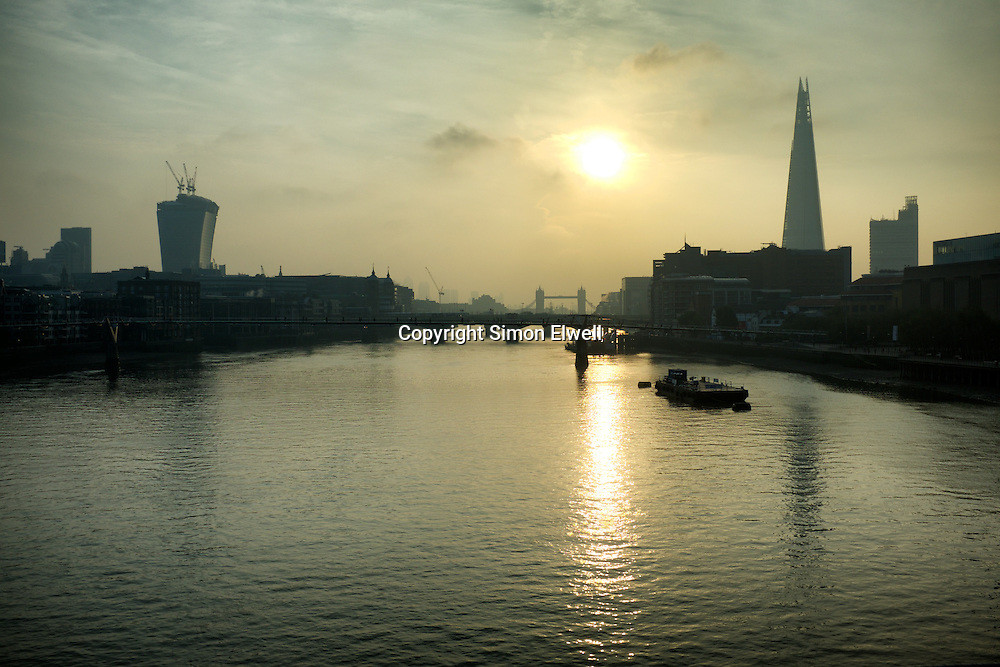 The River Thames: Early Morning from Blackfriars Bridge; October 2013