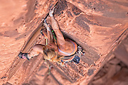 "Climber Kitty Calhoun climbing ""Hoedown,"" rating unknown, Maverick Buttress, near Moab Utah."