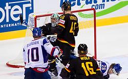 Dimitri Patzold of Germany during ice-hockey match between Slovakia and Germany of Group A of IIHF 2011 World Championship Slovakia, on May 1, 2011 in Orange Arena, Bratislava, Slovakia. Germany defeated Slovakia 4-3. (Photo By Vid Ponikvar / Sportida.com)