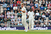 Wicket - Sam Curran of England celebrates taking the wicket of Virat Kohli (captain) of India during day two of the fourth SpecSavers International Test Match 2018 match between England and India at the Ageas Bowl, Southampton, United Kingdom on 31 August 2018.