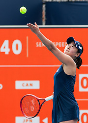 March 18, 2019 - Miami Gardens, FL, U.S. - MIAMI GARDENS, FL - MARCH 18: Nao Hibino (JPN) in action during the Miami Open on March 18, 2019 at Hard Rock Stadium in Miami Gardens, FL. (Photo by Aaron Gilbert/Icon Sportswire) (Credit Image: © Aaron Gilbert/Icon SMI via ZUMA Press)