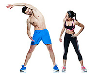 one caucasian couple man and woman exercising fitness stretching exercises isolated on white background