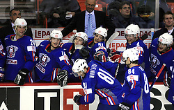 Anze Terlikar, Ales Music, Rok Pajic, Jakob Milovanovic (51), Andrej Tavzelj (4) congratulate Marjan Manfreda (81) for his first goal at ice-hockey game Slovenia vs Slovakia at second game in  Relegation  Round (group G) of IIHF WC 2008 in Halifax, on May 10, 2008 in Metro Center, Halifax, Nova Scotia, Canada. Slovakia won after penalty shots 4:3.  (Photo by Vid Ponikvar / Sportal Images)