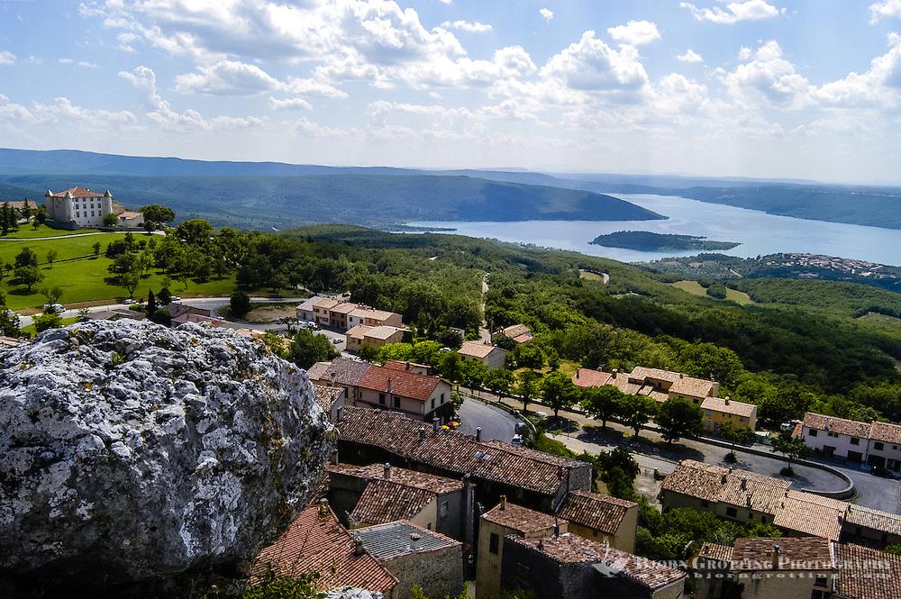 Village above Lac de Sainte-Croix in southern France, a man-made lake formed as a result of the Barrage de Sainte-Croix dam.