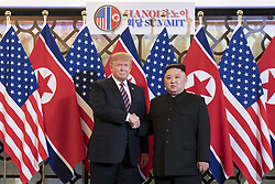 February 27, 2019 - Hanoi, Vietnam - U.S President R=DONALD TRUMP and North Korean leader KIM JONG-UN greet prior to a bilateral meeting at the Sofitel Legend Metropole hotel in Hanoi, Vietnam. (Credit Image: © Shealah Craighead/The White House via ZUMA Wire)