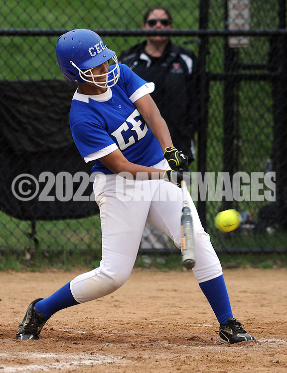 GLENSIDE, PA - MAY 29:  Conwell-Egan's Rachel Cortez hits the ball against Swenson during the District 12 Class AA softball championship May 29, 2014 at Arcadia University in Glenside, Pennsylvania. Conwell-Egan defeated Swenson 15-0. (Photo by William Thomas Cain/Cain Images)