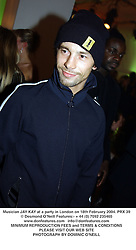 Musician JAY KAY at a party in London on 18th February 2004.PRX 39
