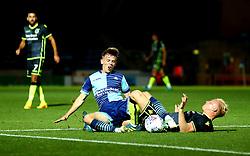 Ryan Broom of Bristol Rovers tackles Dayle Southwell of Wycombe Wanderers - Mandatory by-line: Robbie Stephenson/JMP - 29/08/2017 - FOOTBALL - Adam's Park - High Wycombe, England - Wycombe Wanderers v Bristol Rovers - Checkatrade Trophy
